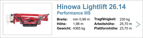 Vermietung Hinowa Lightlift 26.14